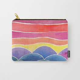 Happy Hills Watercolor Landscape and Sky Carry-All Pouch