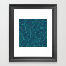 Blue Green Leaves Framed Art Print