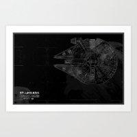 millenium falcon Art Prints featuring Millenium Falcon by Black Brain