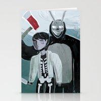 donnie darko Stationery Cards featuring Donnie Darko and Frank by AdamAddams