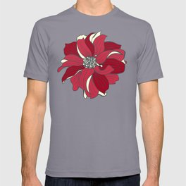 Dahlia pattern in cherry-red and grey T-shirt