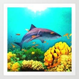Shark in the water Art Print