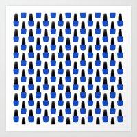 nail polish Art Prints featuring Blue Nail Polish by lilacattack