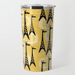 Mid Century Modern Giraffe Pattern Black and Yellow Travel Mug