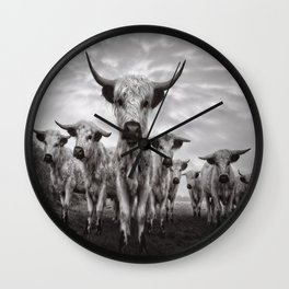Highland Cattle Mixed Breed Mono Wall Clock