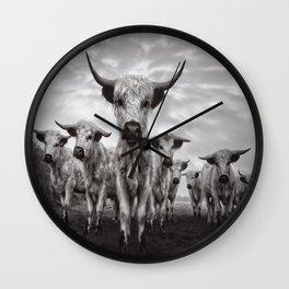 Highland Cattle Mixed Breed Mono Wall Clock