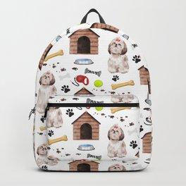 Shih Tzu Dog Half Drop Repeat Pattern Backpack