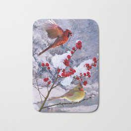 Red Birds of Christmas Bath Mat