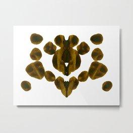 Olive Green Inkblot Nature Pattern Metal Print