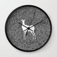 alisa burke Wall Clocks featuring Deer Mandala 2 black-white by Anna Grunduls