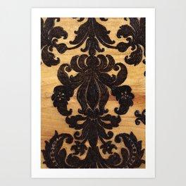 Wood Burnt Damask Art Print