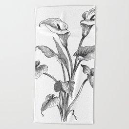 Vintage Calla Lily Bush Beach Towel