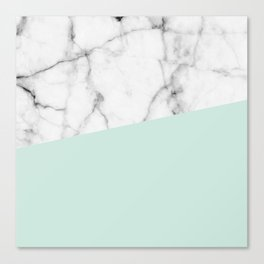Real White marble Half pastel Mint Green Canvas Print