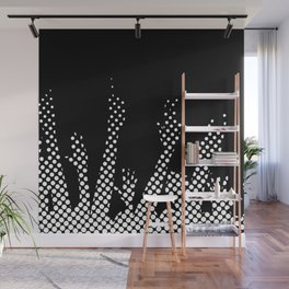 Halftone Raised Hands Wall Mural