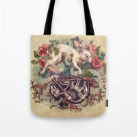 bunny Tote Bags featuring Dust Bunny by Kate O'Hara Illustration