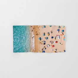 People On Algarve Beach In Portugal, Drone Photography, Aerial Photo, Ocean Wall Art Print Hand & Bath Towel