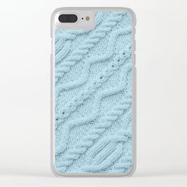 Pale Teal Cableknit Clear iPhone Case