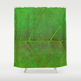 Green Leaf With Veins Shower Curtain