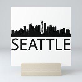 Black Skyline of Seattle silhouette Seattles with word SEATTLE Mini Art Print