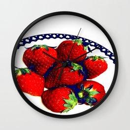 3D strawberries Wall Clock