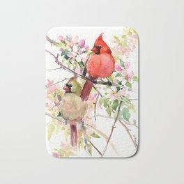 Cardinal Birds and Spring, cardinal bird design Bath Mat