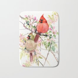 Cardinal Birds and Spring, cardinal bird design Bath Mat