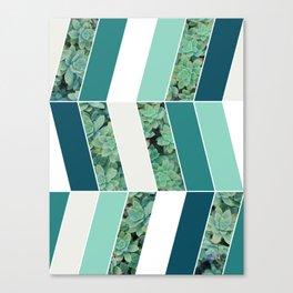 Teal Herringbone #society6 #teal #succulent Canvas Print