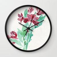 peru Wall Clocks featuring Peru Lilies by Kate Havekost Fine Art