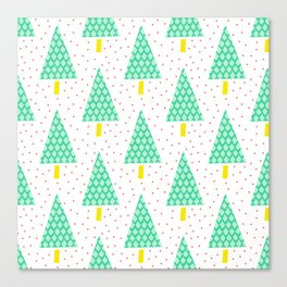 Teal and Tellow Winter Pine Trees Canvas Print