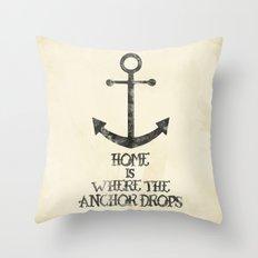 Where The Anchor Drops Throw Pillow