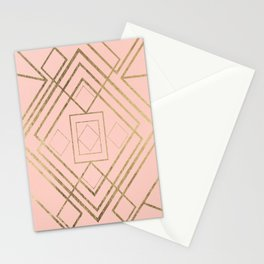 Modern coral faux leather faux gold geometrical pattern Stationery Cards