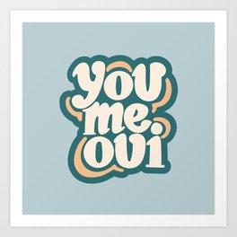 You Me Oui Blue Hand Drawn Art Print