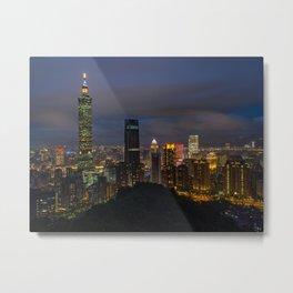Nightly skyline of Taipei, Taiwan | Travel photography Asia Metal Print
