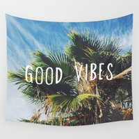 good vibes Wall Tapestries featuring good vibes by Hillary Murphy
