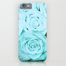 Turquoise roses -flower pattern - Vintage rose iPhone Case