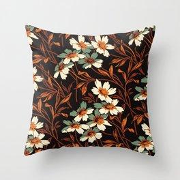 White gothic flowers Throw Pillow