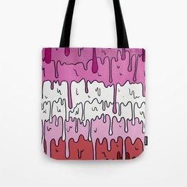 Pastel Kawaii Melting Lesbian Pride LGBTQ Design Tote Bag