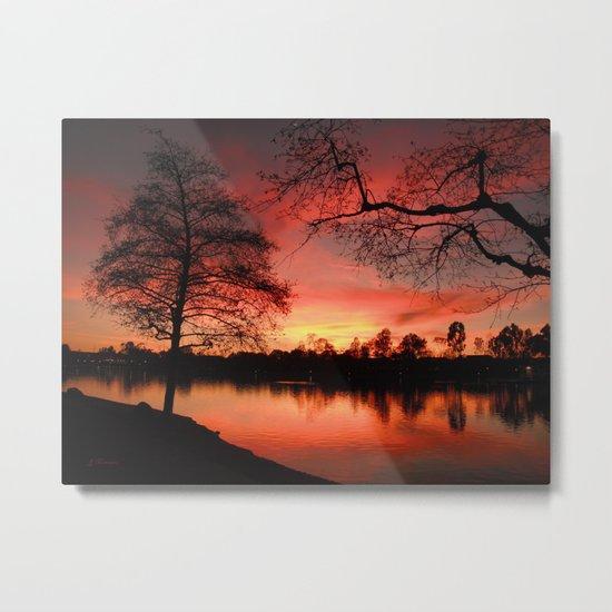 Sunset Lake. © J. Montague. Metal Print