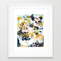 navy Framed Art Prints featuring Sloane - Abstract painting in modern fresh colors navy, mint, blush, cream, white, and gold by CharlotteWinter