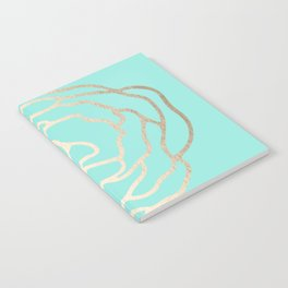 Flower in White Gold Sands on Tropical Sea Blue Notebook
