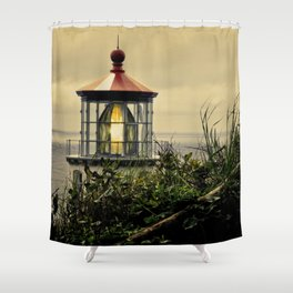 Oregon Heceta Head Lighthouse - Peaking Through The Forrest Shower Curtain