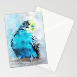 Parakeet Budgie Budgerigar Blue Teal Bird Wildlife Animal Watercolor Artistic Painting Stationery Cards