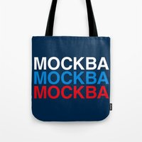 moscow Tote Bags featuring MOSCOW by eyesblau