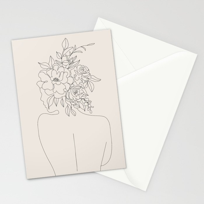 Woman with Flowers Minimal Line I Stationery Cards
