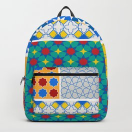 Moroccan pattern, Morocco. Patchwork mosaic with traditional folk geometric ornament. Tribal orienta Backpack