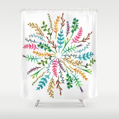 Radial Foliage Shower Curtain