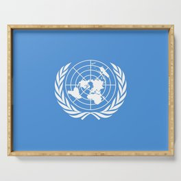 Flag on United nations -Un,World,peace,Unesco,Unicef,human rights,sky,blue,pacific,people,state,onu Serving Tray