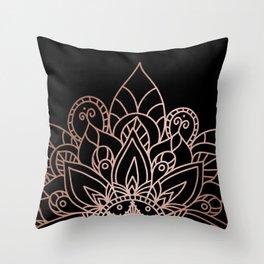 Tiara Mandala Black Throw Pillow