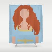 merida Shower Curtains featuring Merida - Brave - Minimalist 2 by Adrian Mentus