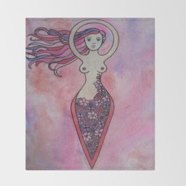 Pink and red floral spiral goddess Throw Blanket
